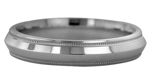 Wedding Bands; Platinum Knife Edge Milgrain Wedding Bands Men`s and Women`s 5mm Wide Comfort Fit