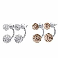 Hotshopping 2 Pairs Fashion Jewelry Shamballa 925 Sterling Silver Double Hoop Balls Stud Earrings for Lovers White and Brown
