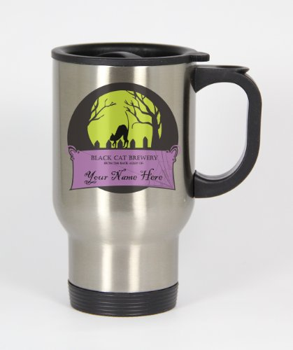 Black Cat Brewery - YOUR Name Here! - 14oz Silver Travel Mug #110STM