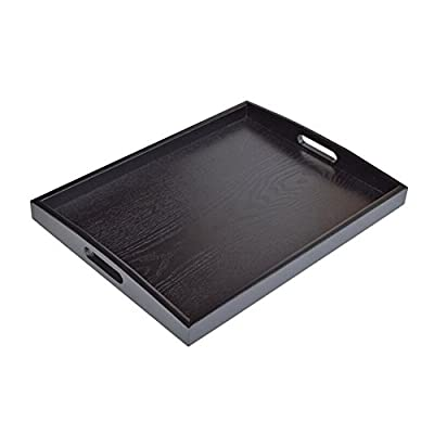 JPCRAFT Rectangle Wooden Serving Tray, Black