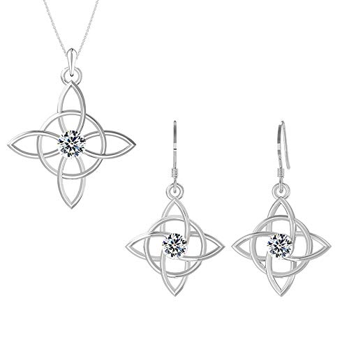 Swarovski Pendant Necklace Earrings Studs Sterling Silver Celtic Knot Jewelry Set April Birthstone Diamond Color for Women and Girls