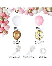 طقم بالونات زهرية على هيئة اكليل زهور وقوس - 115 قطعة من بالونات كونفيتي باللون الذهبي الابيض والذهبي الزهري بمادة اللاتكس للاحتفال بالمولود وحفلات الزفاف واعياد الميلاد والتخرج والذكرى السنوية
