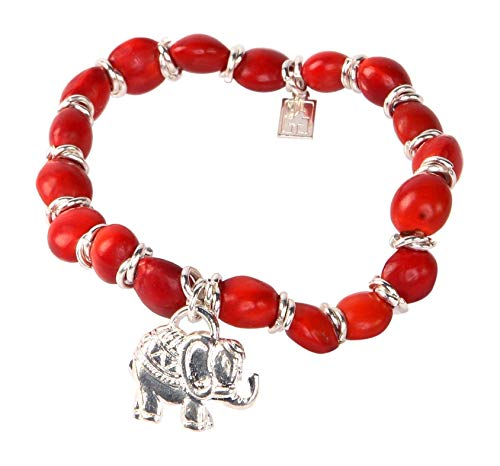 Peruvian Gift Elefant Bracelet for Women - Meaningful Good Luck, Abundance, Love & Happiness Huayruro Red Seeds, Stretchy, Elephant Charm - Elephant Gifts - Eco friendly Jewelry by Evelyn Brooks