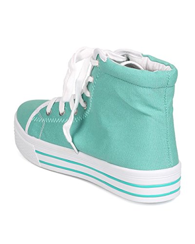 Qupid Aa84 Donna Sneaker Alta In Pizzo Con Zeppa Alta In Tela - Menta