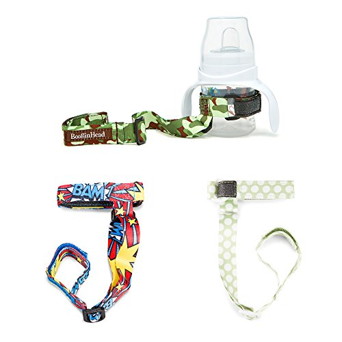 Green Boys Strap - BooginHead Baby SippiGrip Sippy Cup, Bottle Holder, High Chair, Car Seat, Universal Strap, Boy, Delicate Dot Green, Polka Dots, Camo, Camouflage, BAM! Blue, Green 3 Pack