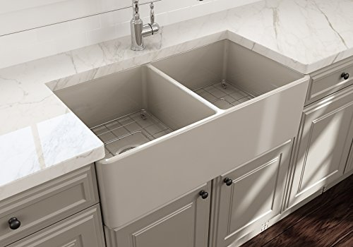 Classico Farmhouse Apron Front Fireclay 33 in. Double Bowl Kitchen Sink with Protective Bottom Grid and Strainer in Biscuit Double Bowl Fireclay Kitchen