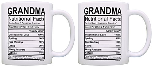 Birthday Gifts for Grandma Nutritional Facts Label Gift Ideas for Grandma 2 Pack Gift Coffee Mugs Tea Cups White