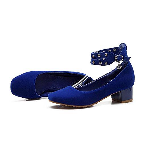 Mini salón Azul Puntera Cerrada Puntera Esmerilado Tacón Cuadrada Hebilla AllhqFashion Sólido Mujer De H1POCWqp