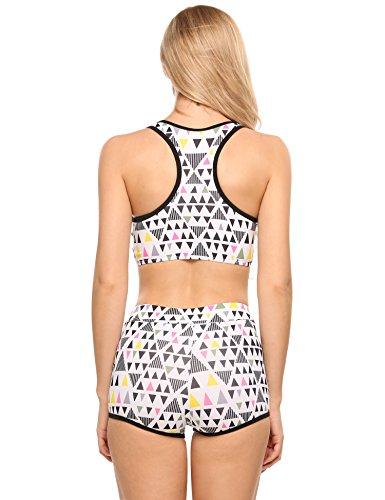 Ekouaer Women痴 Sports Padded Racer Back Tankini Swimsuit (White, L)