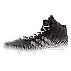 adidas Performance Men's Crazyquick Mid D Football Cleat, Black/Metalic Silver/White, 13 M US
