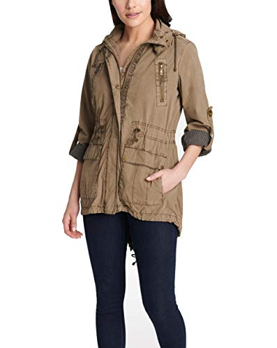 Levi's Women's Lightweight Cotton Hooded Anorak Jacket, Khaki, Large
