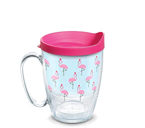 Tervis 1312687 Santa Hat Flamingo Insulated Coffee Mug with Lid, 16 oz, Clear