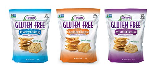 - Milton's Gluten Free Baked Crackers, 3 Flavor Variety Bundle. Crispy & Gluten-Free Baked Grain Crackers (Everything, Cheddar, and Multi-Grain, 4.5 oz).