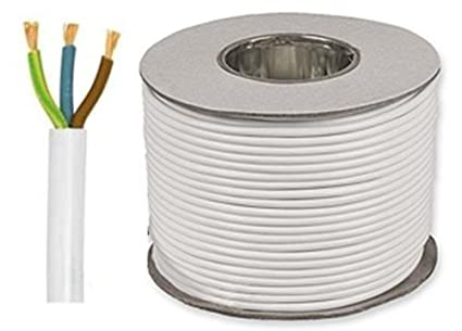 5 metros blanco 1 mm 10 Amp 3183Y 3 Core Cable Flexible