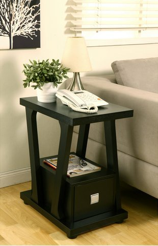 Furniture of America Naudine 1-drawer Contemporary Black Living Room Sofa End Table (Contemporary Wood Finish End Table)