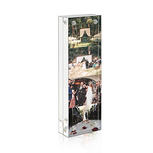 Photo Booth Acrylic 2 x 6 Picture Frame, Double Sided Frameless Desktop Photo Frames(2x6 inch, 24mm Thickness)