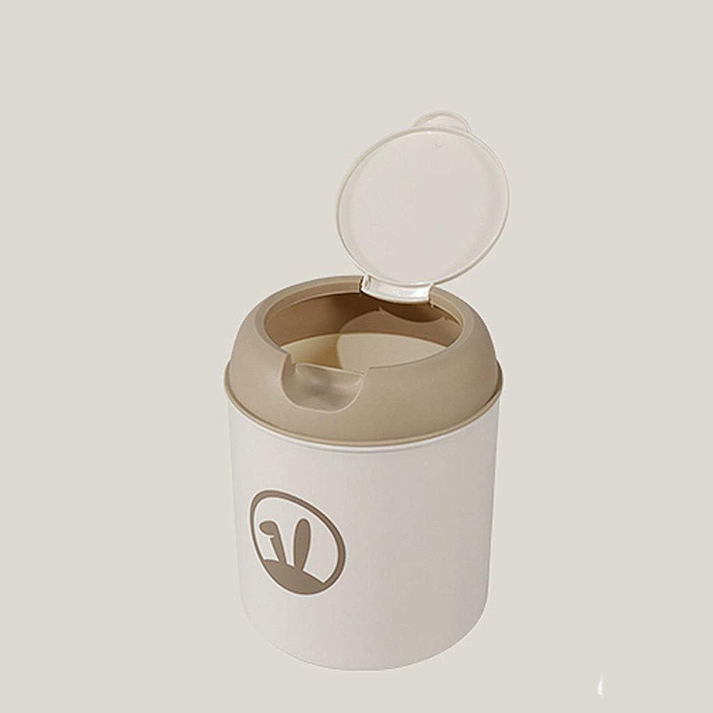 Hong Yi Fei-shop Cubetas de Basura De plástico pequeña Tiny Basura Oficina encimera Can Protección de la Tapa del Escritorio Papelera Papelera Botes de Basura (Color : Brown)