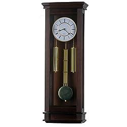 30-inch Tall Modern Walnut Hardwood Pendulum Clock, Quartz Wall Clock Home Decor - P00081