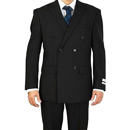 Mens Black Double Breasted 6 Buttons Classic Fit Suit New with Peak Lapels(54R/48W ()