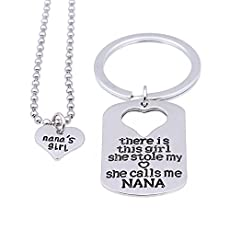 2pcs This girl stole my heart calls me Nana Necklace and Key Chain Gift for Family Grandma Granddaughter