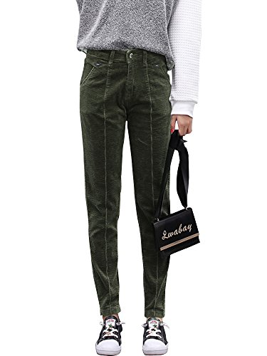 - Gooket Women's Stretch Corduroy Skinny Ankle Pants Slim Pencil Pants Olive Green Tag 31-US 10