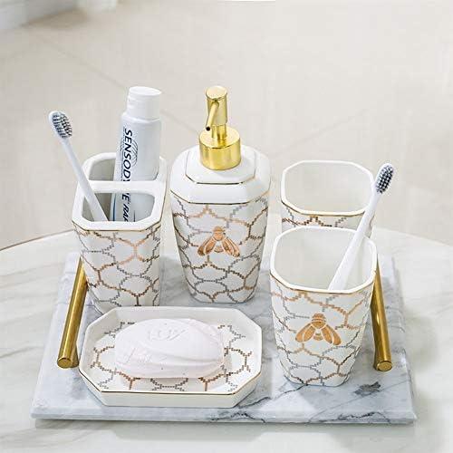 FXin 浴室付属品、マグカップ洗浄セット6セットの5セットのセラミック浴室セット、美しいトレイ、3スタイルの家庭用浴室の装飾品 シャワー室 (Color : C)