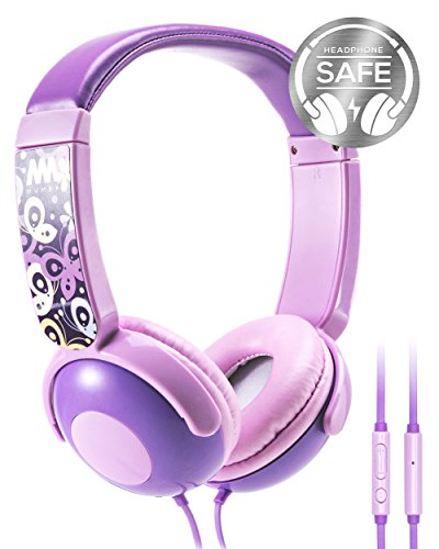 Kids Headphones, Mumba Volume Limited Over Ear Headphones Girls, 85 Safe Listening Adjustable Headsets with Microphone for Kids Children Purple