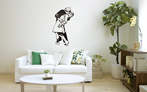"US Sailor Kiss NY Fan Art 18""x 35""History Cool Art Logo Unique Vinyl Decor Wall Man Cave Garage Window"