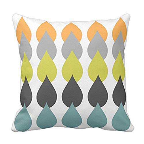 Emvency Throw Pillow Cover Green Grey Retro Orange Chartreuse Yellow Gray Mid Decorative Pillow Case Home Decor Square 20 x 20 Inch Pillowcase