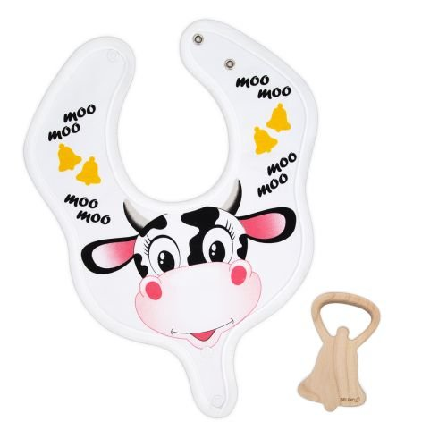 DELEKO Cow & Bell cotton BIB with a TEETHER from maple tree handmade natural ecological Perfect for babies who teethe ! by DELEKO