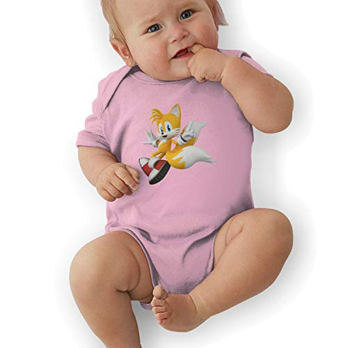 DingingGOOD Babys Sonic Hedgehog 3D Tails Fashion Comfortable Short Sleeve Jumpsuit Outfits 2T Pink ()