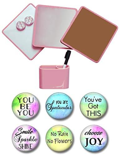 Locker Kit : Mirror, Cork Board, White Board, 6 Inspirational Magnets, 2 Pencil Cups 14 Piece Set (Blush)