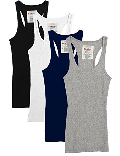 (Zenana Outfitters Trendyfriday Womens Must Have Essential Basic Ribbed Tank Tops, Black, White, Navy, H Grey, L)