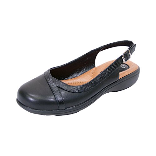 Extra Wide Width Shoes (Peerage FIC June Women Extra Wide Width Leather Slingback Clog Black 9)