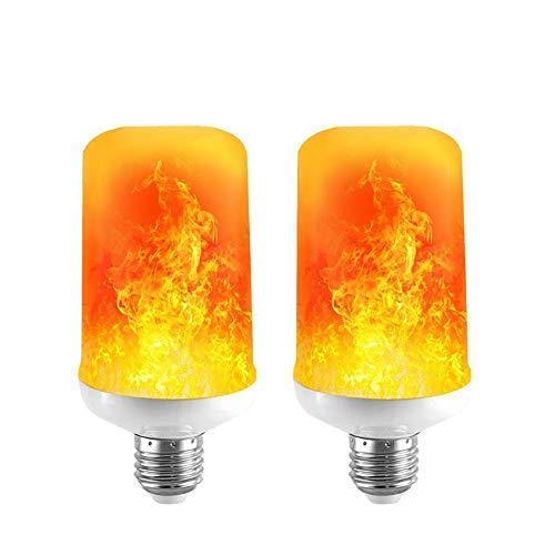 LED Flame Effect Light Bulb - 7W E26 Standard Base 4 Modes Simulated Realistic Burning Fire Light for Home/Outdoor/Hotel/Bar/Party Especially in Festivals, Birthday, Halloween, Christmas(2 Pack)]()
