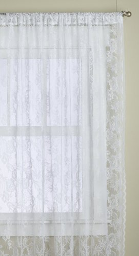 Lorraine Home Fashions Monaco Super Wide Tailored Window Panel, 120 by 84-Inch, Snow White, Set of 2 (Lace White Sheers)