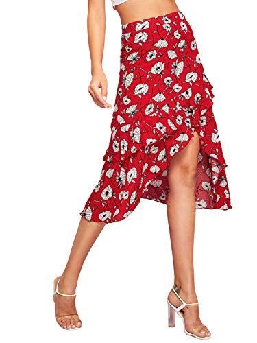 WDIRARA Women's High Waist Asymmetrical Floral Print Ruffle Hem Wrap Skirt Red M