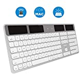 Macally Wireless Solar Keyboard for Mac Mini/Pro, iMac Desktop Computers & Apple MacBook Pro/Air Laptops | 2.4 Ghz RF USB Dongle | Caps Lock/Battery Indicators - Silver Aluminum, Gray