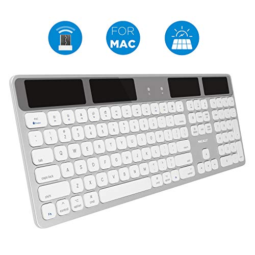 Macally Wireless Solar Keyboard for Mac Mini/Pro, iMac Desktop Computers & Apple MacBook Pro/Air Laptops - 2.4 GHz RF USB Dongle - Caps Lock/Battery Indicators - Silver Aluminum, Gray (Apple Keyboard Desktop)