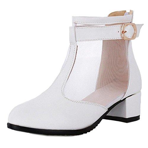 COOLCEPT Damen Mid Blockabsatz Pumps Schuhe Weiß
