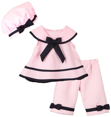 Rare Editions Baby Girls Pink Nautical Sailor Set - 9 Months