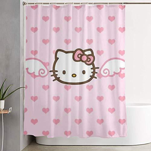 LYULIAN Angel Hello Kitty with Hook Stylish Shower Curtain Printing Waterproof Bathroom Curtain 60 X 72 Inches