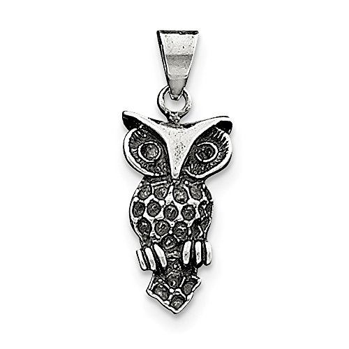Perfect Jewelry Gift Sterling Silver Antiqued Owl Charm