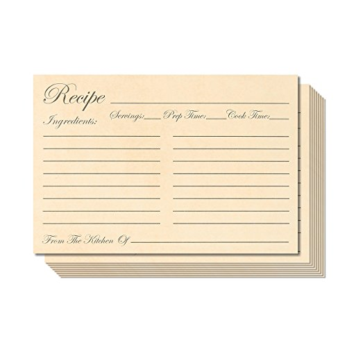 Juvale Recipe Cards - 60 Pack Double-Sided Kitchen Recipe Cards - 4 x 6 Inches