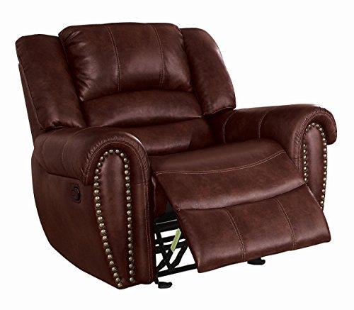 Saddle Reclining Leather - Homelegance Center Hill Glider Reclining Leather Gel Match Chair, Saddle Brown