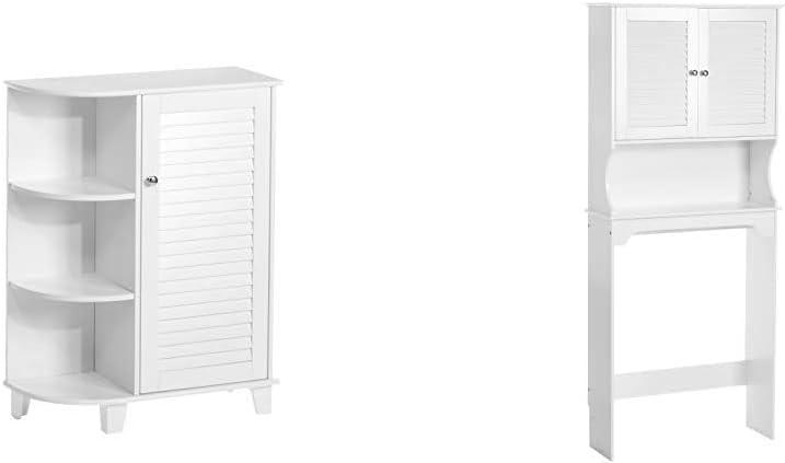 RiverRidge Ellsworth Collection Floor Cabinet with Side Shelves, White & Ellsworth Collection Spacesaver, White