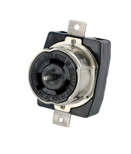 Leviton CS6370 50-Amp, 125VAC, Non-NEMA, 2P, 3W, Black and White Locking Flush Mount Receptacle, Grounding, California-Style-CS, Black
