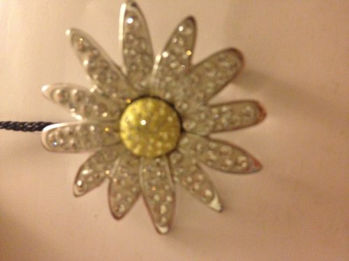Flower Pin Signed - Signed Swarovski Pave Crystad Silver Tone Flower 1 1/2 Inch Pin Brooch with Swan Logo