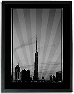 Dubai Skyline Down Town - Black And White No Text F09-nm (a5) - Framed