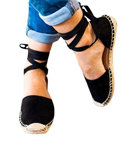 up Sandals 2 Fashare Peep Espadrilles black Tie Classic Womens Toe Shoes Espadrille Flat qwXtXFP